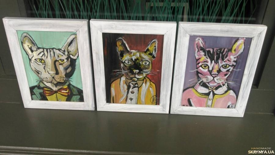 тут изображено картины ′кошачья семья′