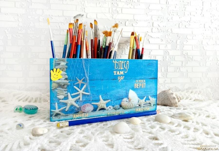 тут изображено Органайзер подставка карандашница ′Морской Бриз′