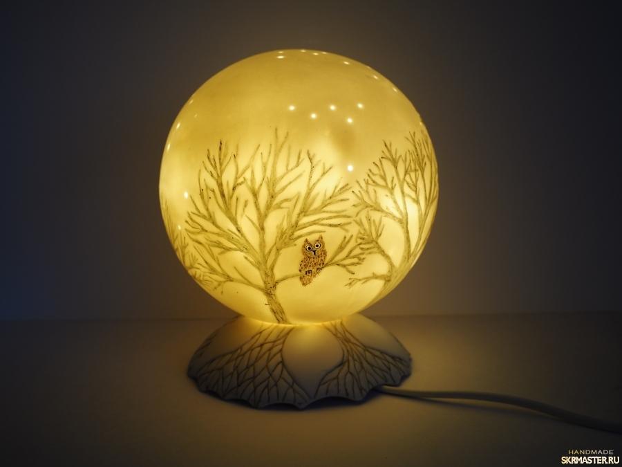 тут изображено Ночник′Ночь, дерево, сова...′.Фарфор.