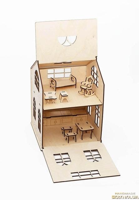 тут изображено Домик для куклы с мебелью Уютный