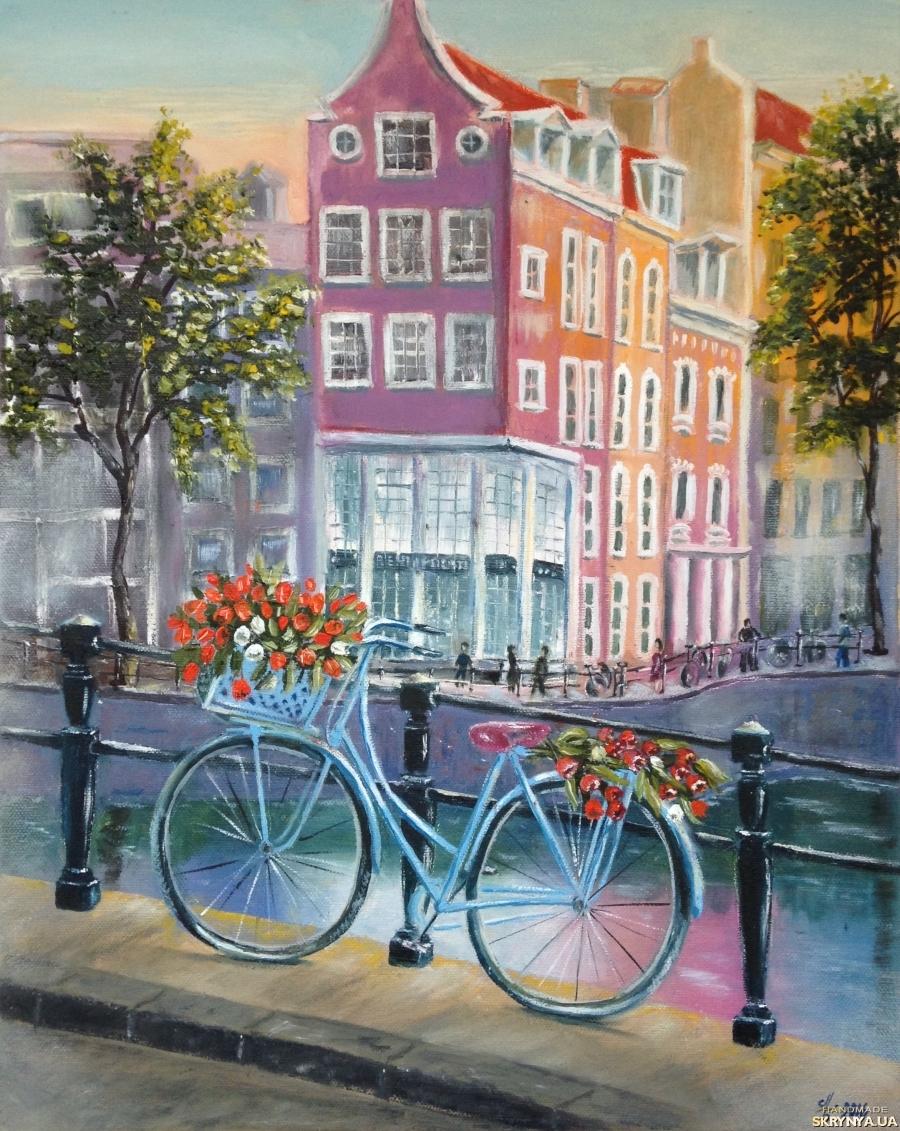 тут изображено Картина маслом Амстердам