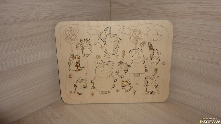 тут изображено Деревянные пазлы Любимые герои мультфильма Свинка Пеппа