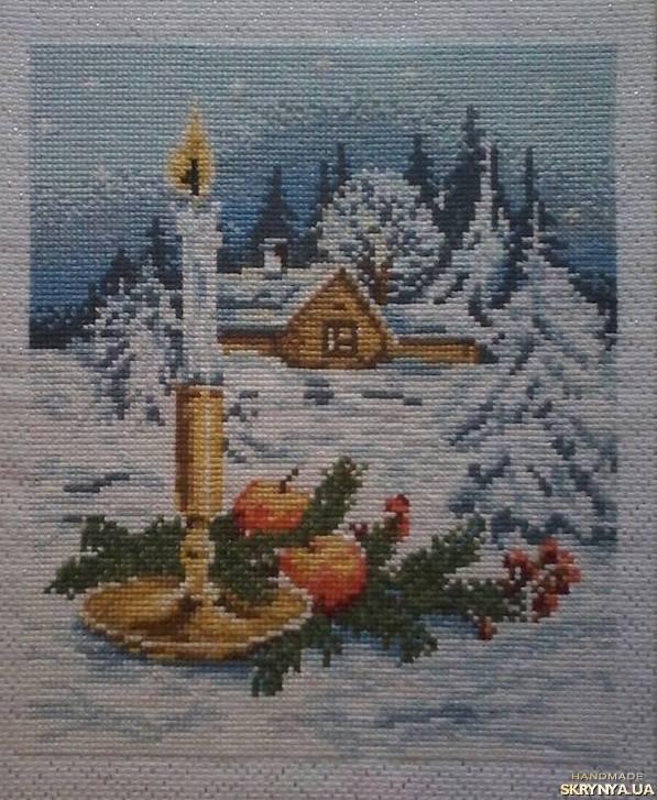 тут изображено Вишита картина Різдвяна свічка
