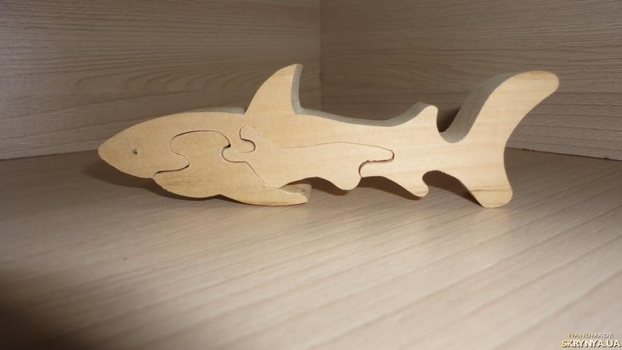 тут изображено Акула. Пазлы из дерева