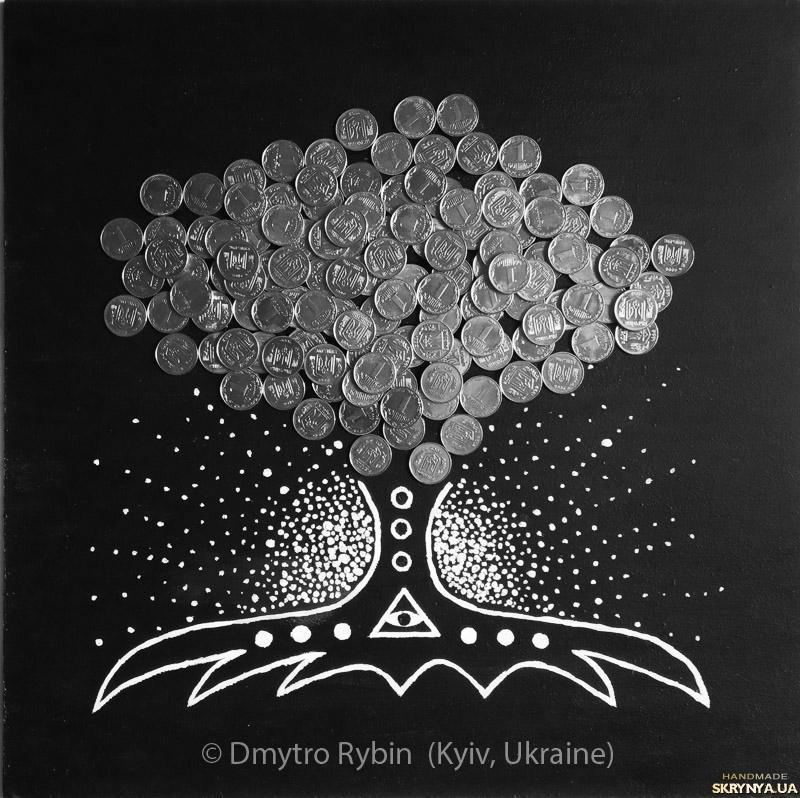 тут изображено Денежное дерево. Акриловая живопись с монетами. 30*30 см. ДСП.