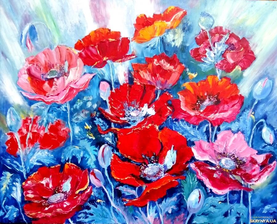 тут изображено Картина маслом цветы ′Алые крылья маков′, 50 х 40