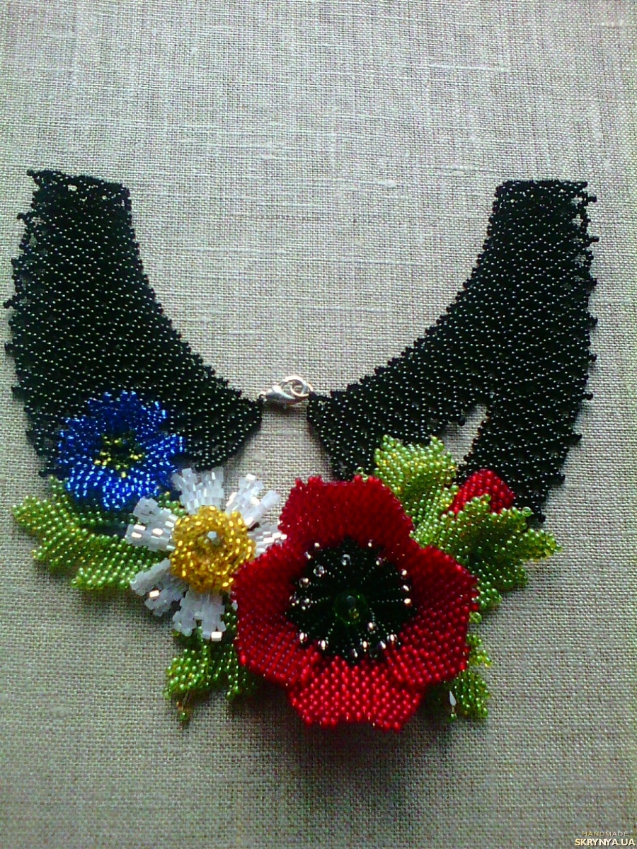 pictured here Ukrainian Handmade Beaded Necklace (Gerdan) ′Field Flowers′ black,red.