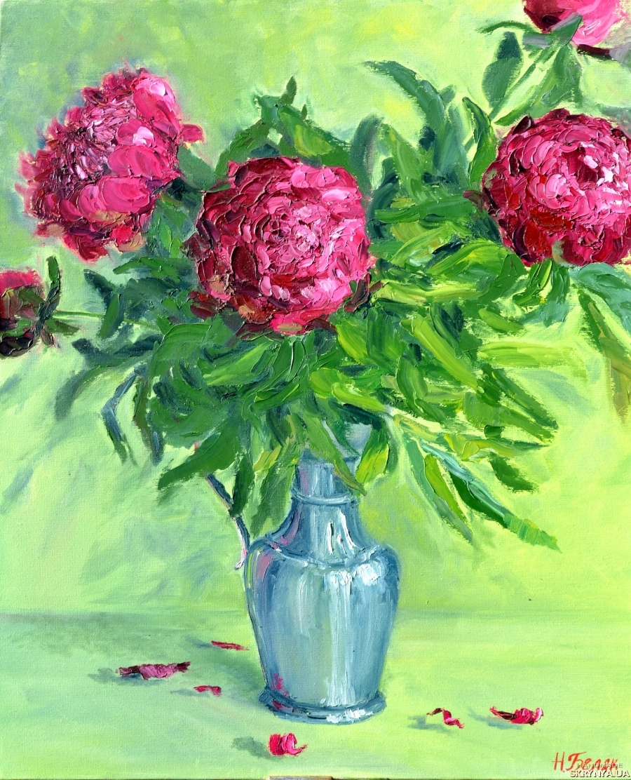 pictured here Oil painting Peonies .