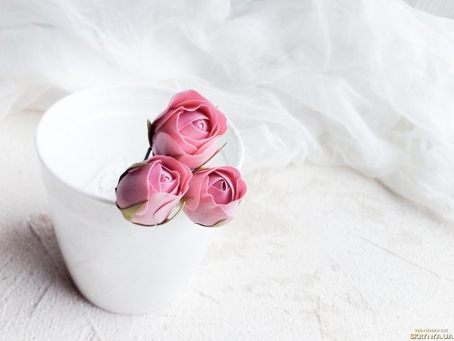 Шпильки для волос Poзы персиковые, Свадебные шпильки с цветами