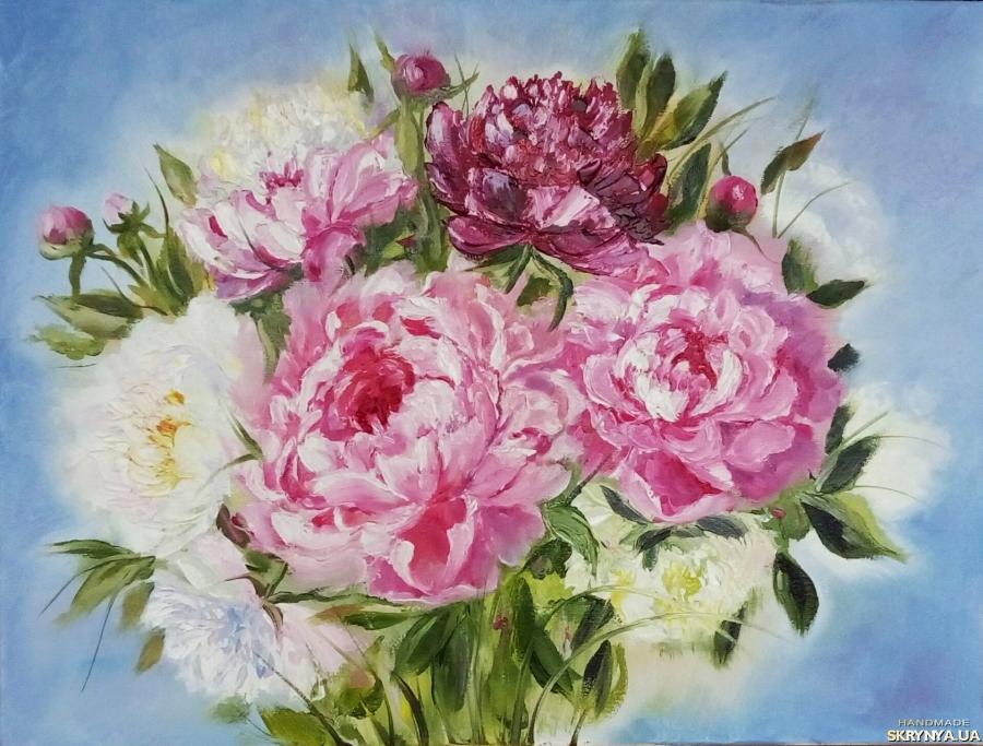 тут изображено Картина маслом цветы ′Пионы - весны цветение′, 30 х 40