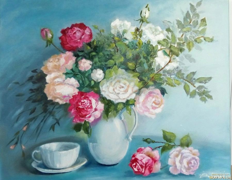 тут изображено Картина маслом ′Натюрморт с розами′ цветы 50 х 40