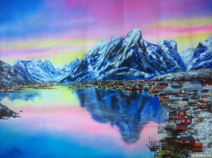тут изображено Картина маслом 30х40 Норвегия Лофотен Горы