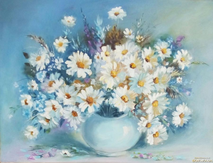 тут изображено Картина маслом цветы ′Ромашек нежные ладошки′