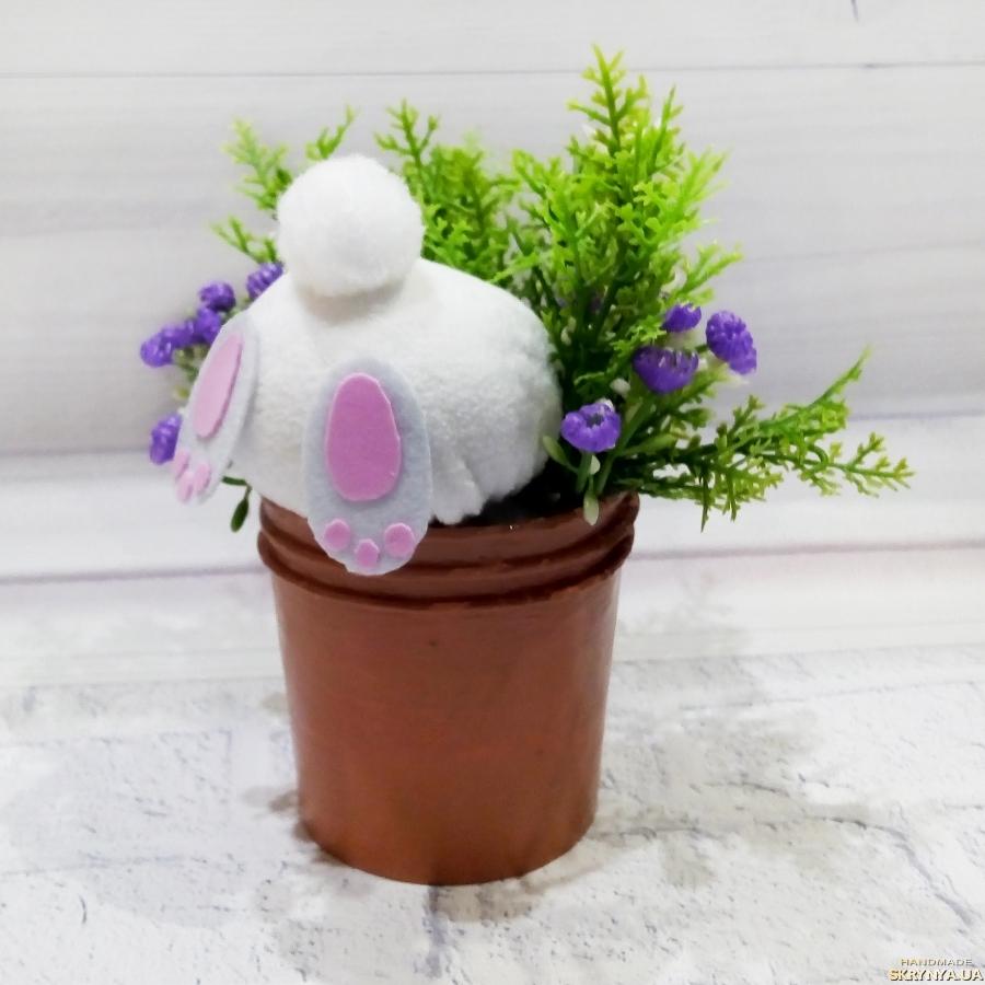 тут изображено Кролик в горшке с цветами Оригинальный подарок