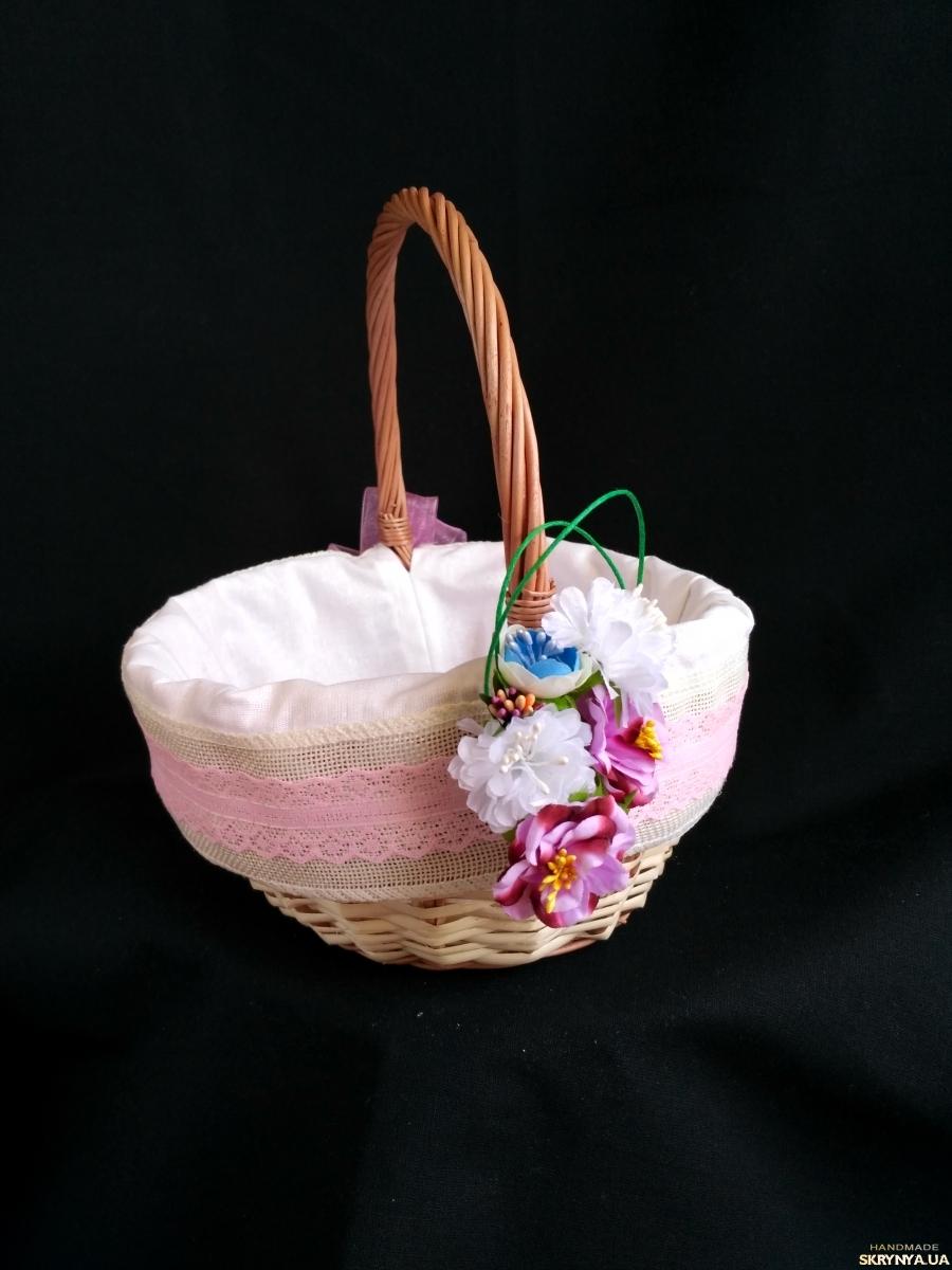 pictured here кошик великодній, корзина пасхальна, прикрашена корзина, кошик для пікніка