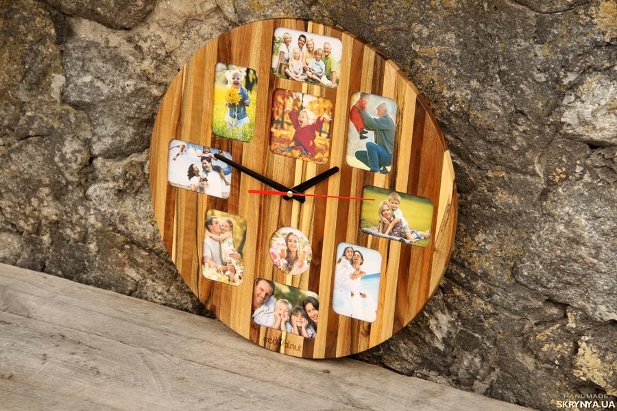 тут изображено Деревянные Настенные Часы С Фото На Стену Домой - Годинник З Фото - Подарок