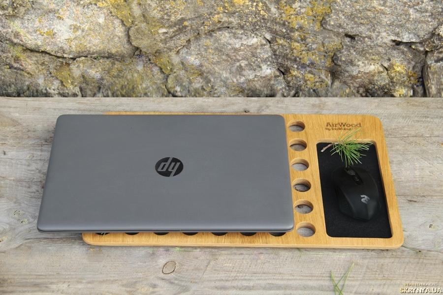 тут изображено Подставка Для Ноутбука Органайзер Из Дерева На Стол Підставка Для Ноутбука