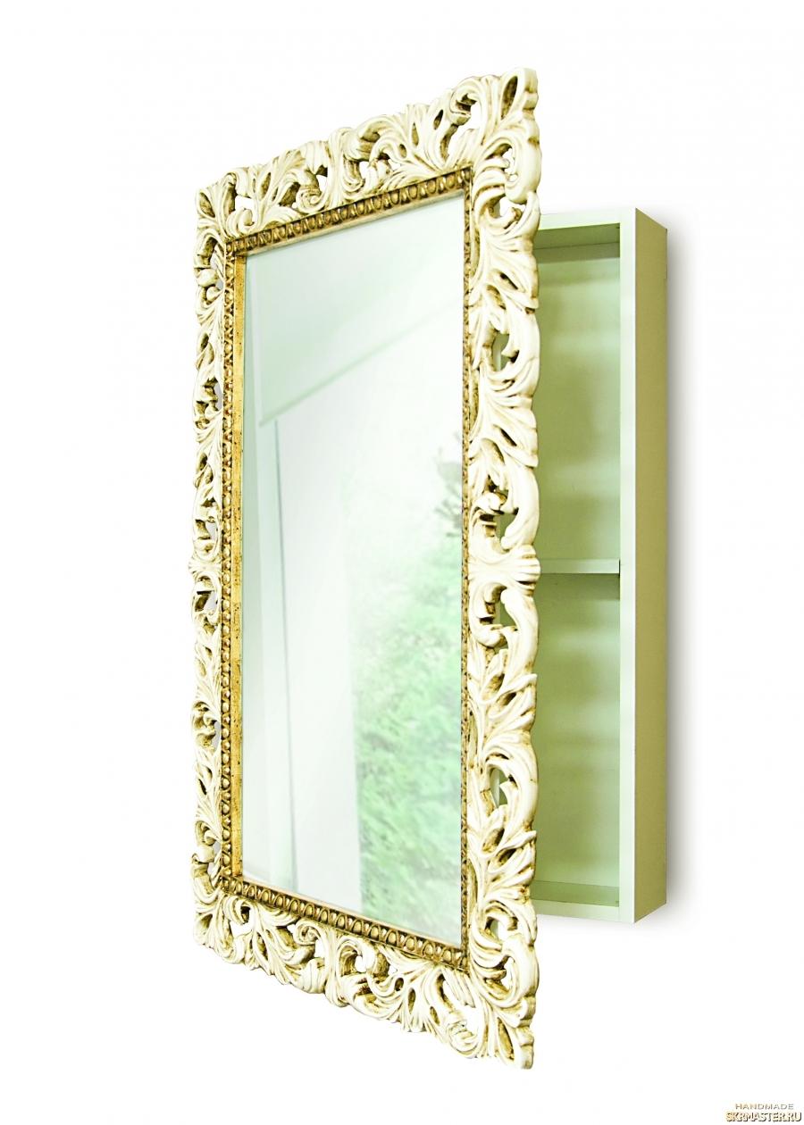 тут изображено Зеркальный шкаф в ванную комнату