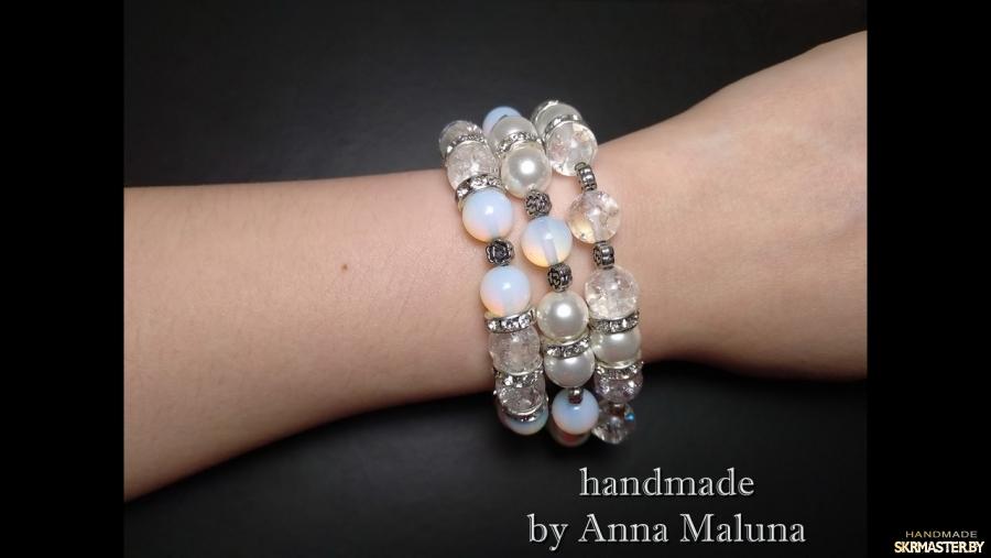 тут изображено Сет браслетов эластичных ручной работы ′Лунное сияние′ с натуральным камнем
