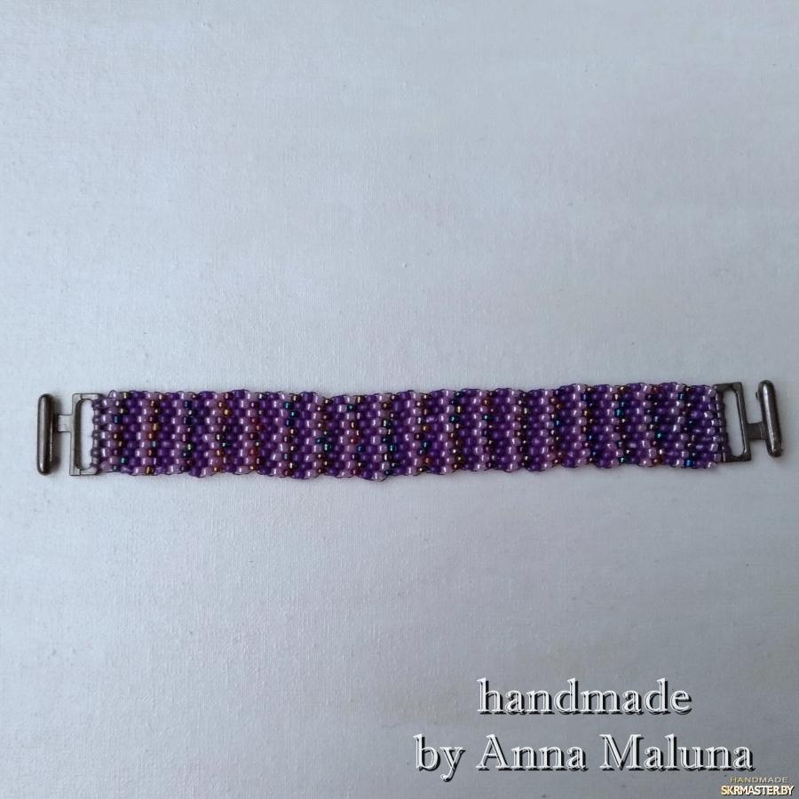 тут изображено Браслет-мозаика ручной работы ′Фиолетовый′ из бисера