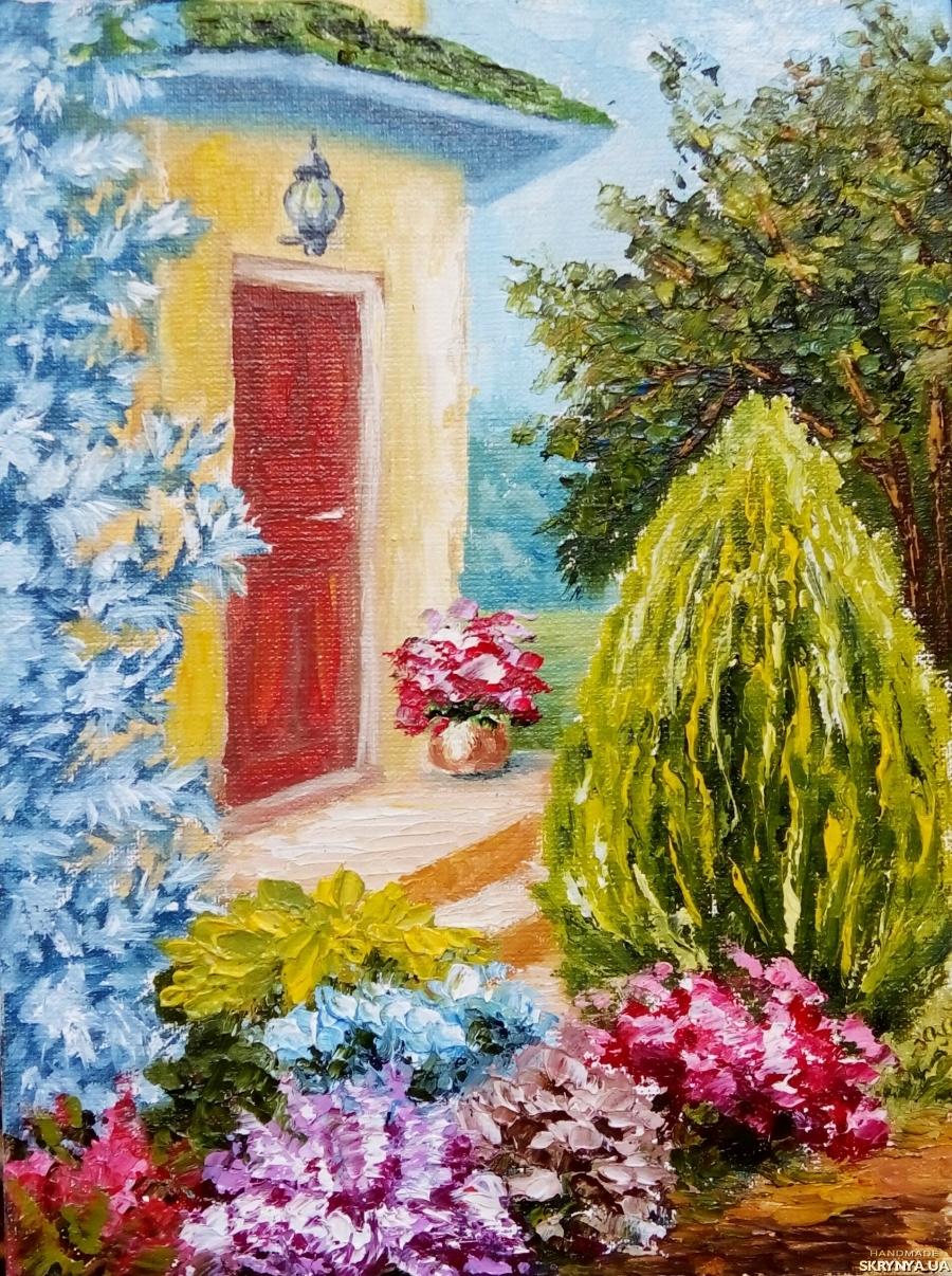 тут изображено Картина маслом, миниатюра, пейзаж ′Уютный дворик′ солнечный