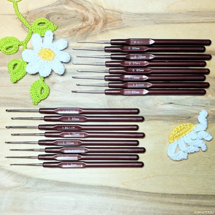 тут изображено Крючки для вязания 0,5-2.5мм, коричневые. Наборы 8шт.