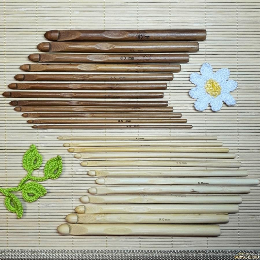 тут изображено Крючки для вязания 3-10мм, бамбук. Набор 12шт.