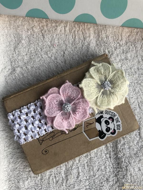 тут изображено Повязка с цветами для малыша, новорожденного, девочки Hand Made