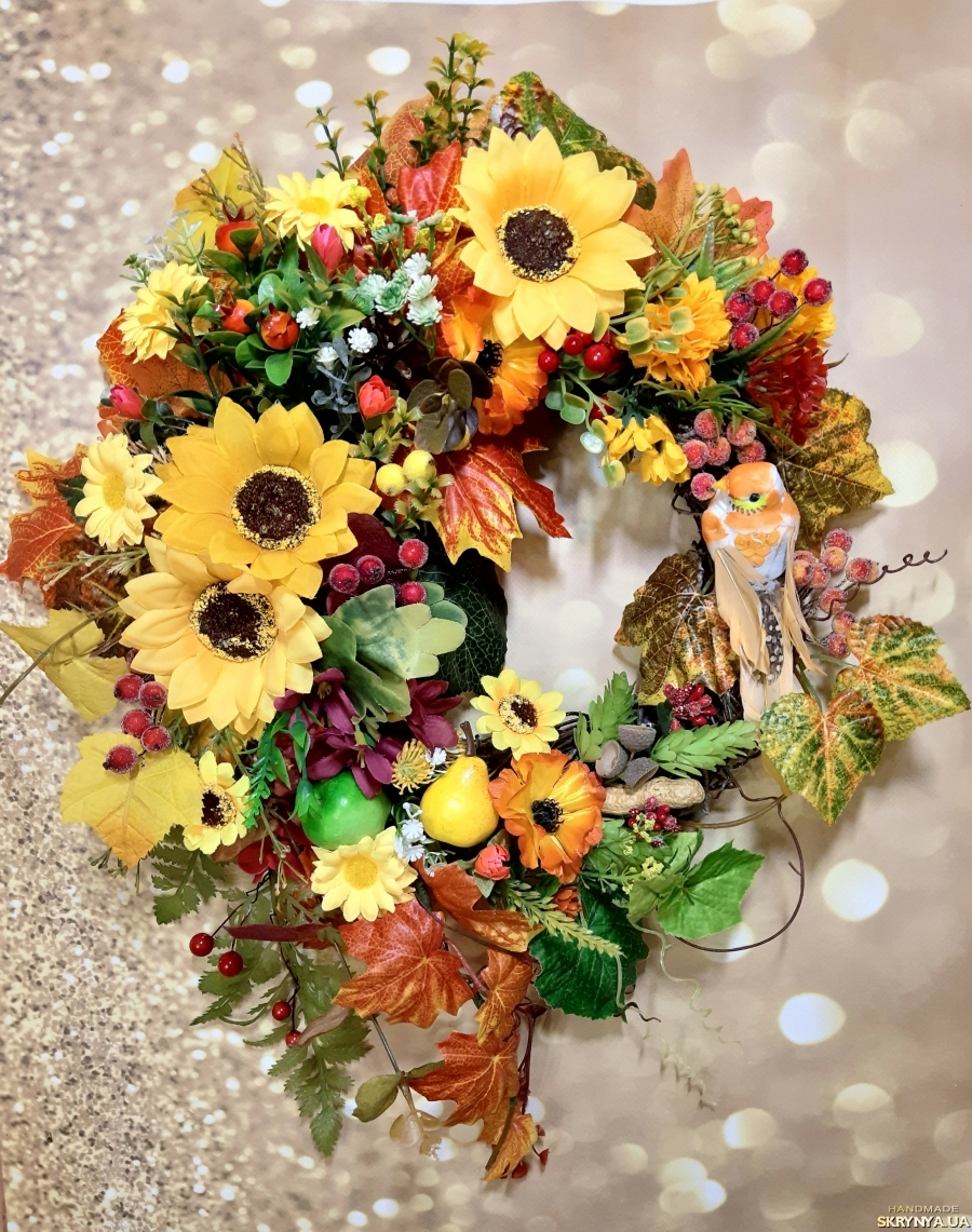 тут изображено Осенний осінній венок на дверь стену стол декор интерьера подарок новоселье