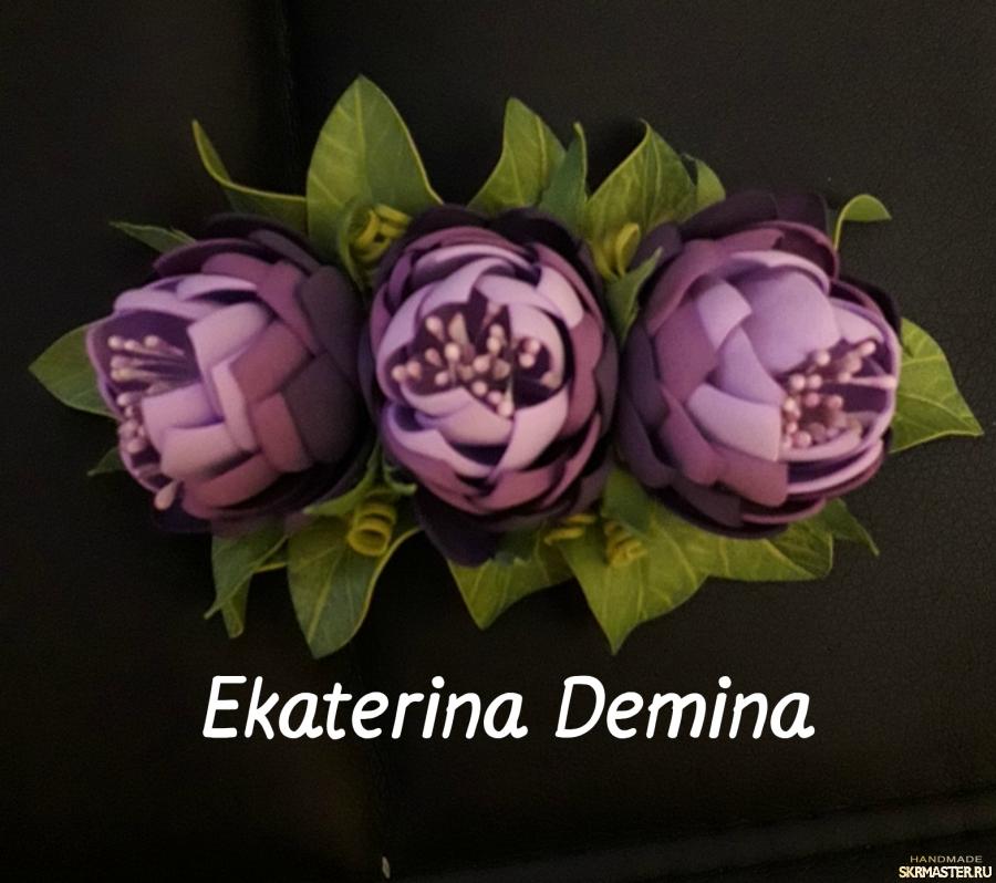 тут изображено Заколка-автомат ′Сиреневые цветы′