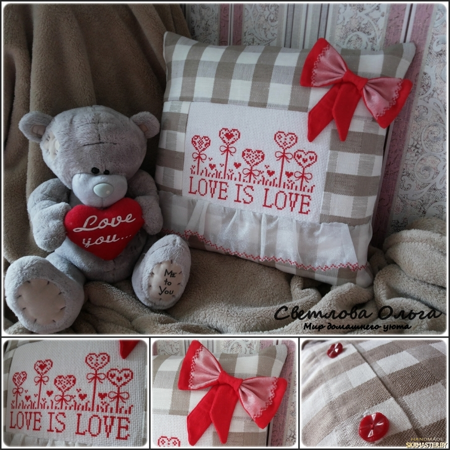 тут изображено Подушка - LOVE IS LOVE
