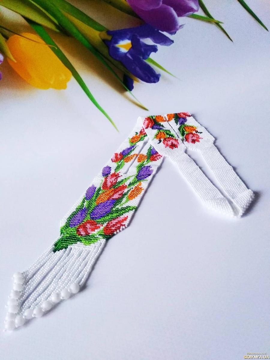 Гердан тюльны Очень приятный подарок Белоснежный цветочный гердан