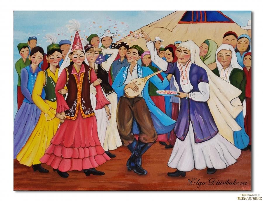 тут изображено Казахская свадьба. Шашу. Живопись. Картина на подарок