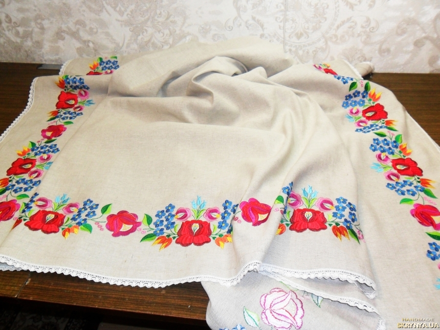 тут изображено Скатерть льняная вышитая Прямоугольная большая скатерть Столовая скатерть